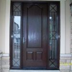 Wood grain Fiberglass Door, 8 foot Door with 2 side Lites- Iron Art Design Installed by Windows and Doors Toronto in Newmarket