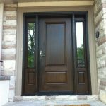 Wood grain Fiberglass Door with 2 Side Lites Installed by windows and doors toronto in Oshawa