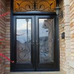 Wood grain Fiberglass Doors, Iron Art Glass Design Front Door with Iron Art Transom Installed by Windows and Doors Toronto in Woodbridge