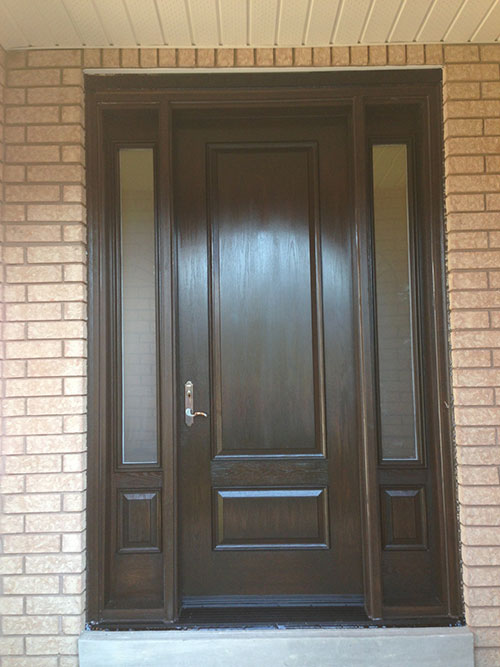 Woodgrain exterior doors woodgrain doors front entry doors for Front entry door installation