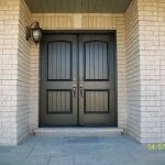 Wood grain Rustic Fiberglass Parliment Doors with Multi Point Locks Installed by Windows and Doors Toronto in Burlington