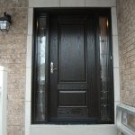 Wood grain Single Door with 2 Stained Glass Side Lites Installed by Windows and Doors Toronto
