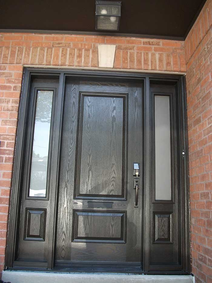 Woodgrain exterior doors woodgrain doors front entry doors for Single front entry doors