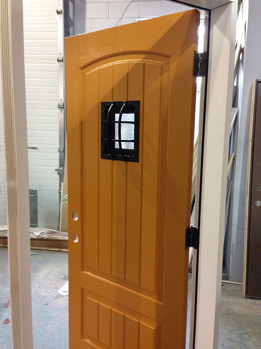 Fiberglass rustic door front entry door with easyspeak for Window door manufacturers