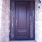 Fiberglass Woodgrain Executive Door with 2 Clear Side lites and Iron Art Design and Multi Points Lock installed Richmond Hill Installed by WIndows and Doors Toronto