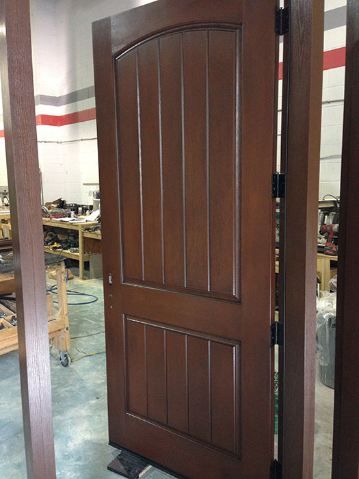 Rustic Fiberglass Exterior Door During Manufacturing By