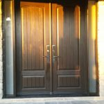 Fiberglass Rustic Double Doors with 2 frosted side lites installed in Richmond Hill by Windows and Doors Toronto