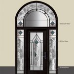 Bewerley Wrought Iron Stained Glass Design with large Arched Transom and 2 Side Lites