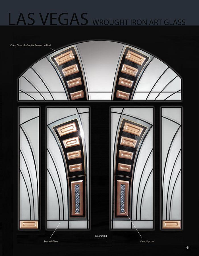 Las vegas wrought iron art design doors with 2 side lites for Art glass windows and doors