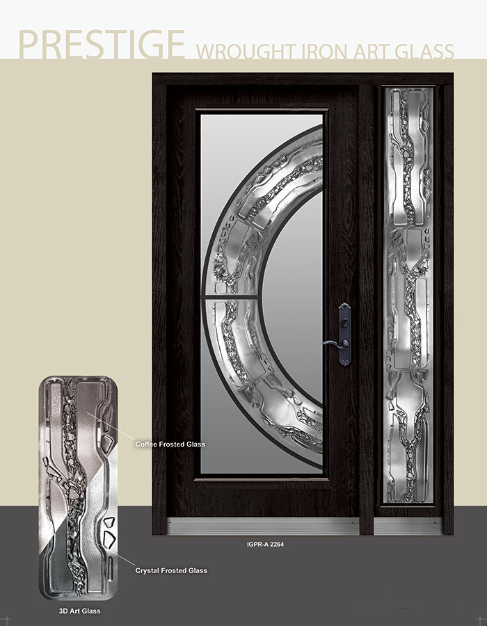 Prestige wrought iron stained glass design door with side lite for Side window design