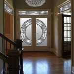 Stained Glass and Wrought Iron Design Fiberglass Doors with Transom by Windows and Doors Toronto