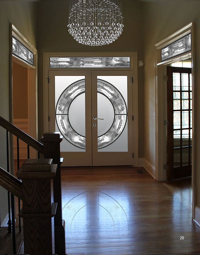 Stained Glass And Wrought Iron Design Fiberglass Doors With Transom