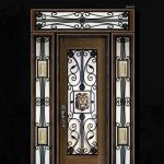 Victorian Wrought Iron Desgn and Stained Glass Fiberglass Door with 2 Side Lite and Transom by Windows and Doors Toronto