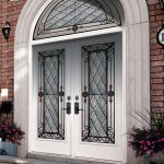 Wrought Iron Geneva Design Fiberglass Doors with Arched Transom by Windows and Doors Toronto
