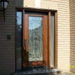 1-Wood grain Door with Paris Design & 2 side Lites installed by windows and doors toronto in Richmondhill