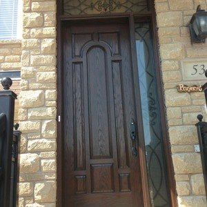 Woodgrain 8 panel Door with Side lite & Transom by by windows and doors toronto