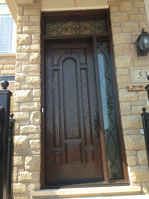 Front Entry Door Fiberglass Woodgrain 8 Panel Door With