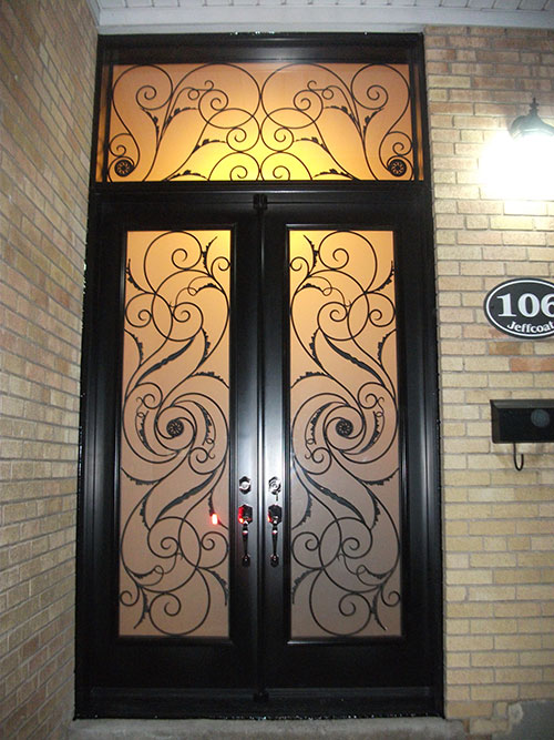 12-Serefina Design Doors with Stained Glass and Transom Installation by Windows and Doors Toronto