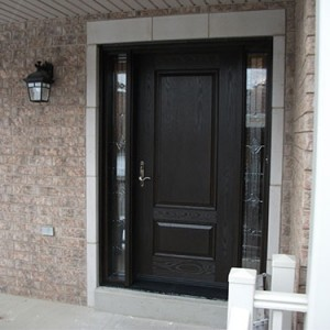 Woodgrain Single Door with 2 Stained Glass Side Lites Installed by windows and doors toronto