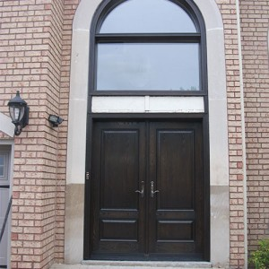 18-Wood Grain Doors with Transom and Multi Point Locks Installed by by windows and doors toronto