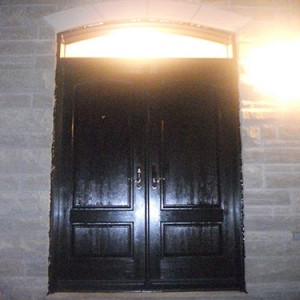 woodgrain Entry Doors with Transom, Outside View Installed by windows and doors toronto