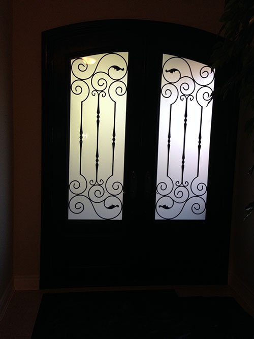 Arch-Design-Fiberglass-Doors-with-Iron-Art-glass-Installed-by-Windows And Doors Toronto