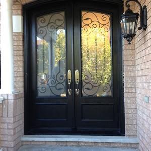 Arch-Fiberglass-Doors-installation-with-Iron-Art-Design-Glass-Multi-Point-Locks-in-Markham-by-Windows And Doors Toronto