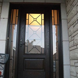 Custom Fibergass Doors with Stained Glass Extrior Doors installed by windowsanddoorstoronto.ca