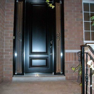 Executive Door, 8-Foot-Fiberglass-Single-Solid-ront-Door-with-2-Slim-Iron-Art-Side-Lites-Installed-in-Oakville by Windows and Doors Toronto