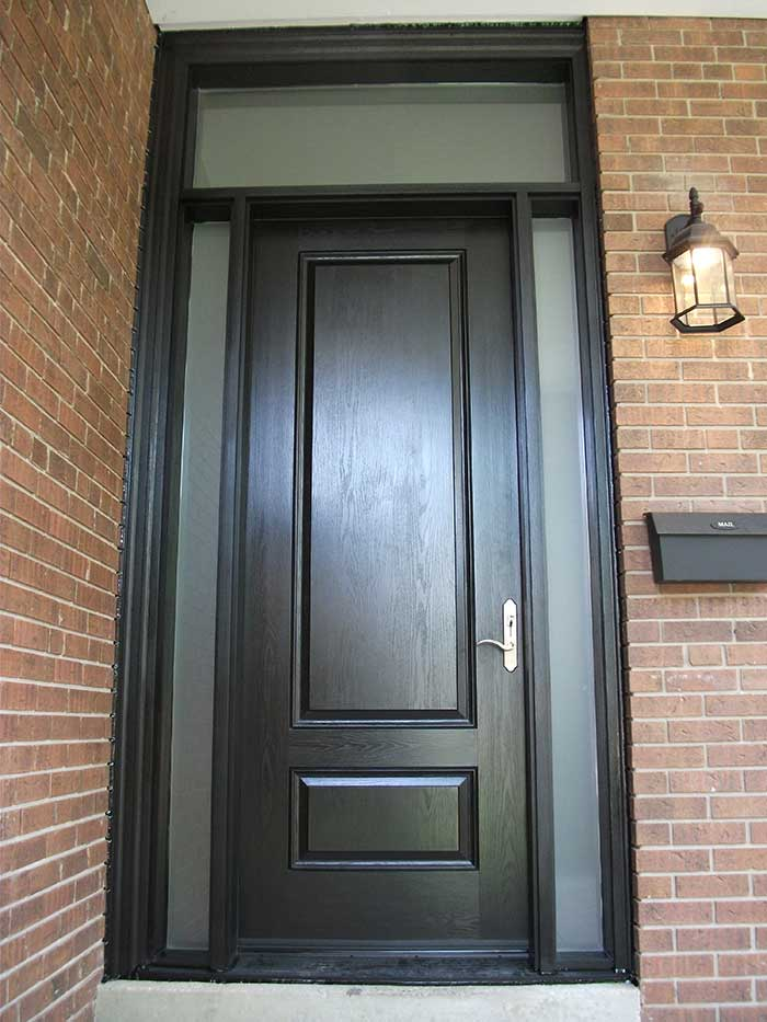 Executive Door, 8-Foot-Single-Solid-Fiberglass-Front-Door-with-2-Slim-frosted-Side-Lites-&-Transom-Installed-in-Oakville by Windows and Doors Toronto