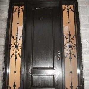 Executive Door, Fiberglass Door Single-Solid-Front-Door-with-2-Iron-Art-Side-Lites-Installed-in-Brampton by Windows and Doors Toronto