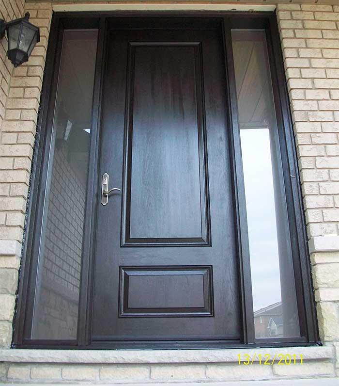 Executive Door, Fiberglass Door with 2 Frosted side lites installed in Woodbridge by Windows and Doors Toronto