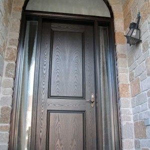 Executive Doors, 8-Foot-Single-Solid-Front-Door-with-2-Glazed-Side-Lites-and-Matching-Art-Transom-Installed-in-Newmarket by Windows and Doors Toronto