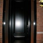 Executive Doors, 8-Foot-Single-Solid-ront-Door-with-2-Slim-Iron-Art-Side-Lites-Installed-in-Oakville by Windows and Doors Toronto