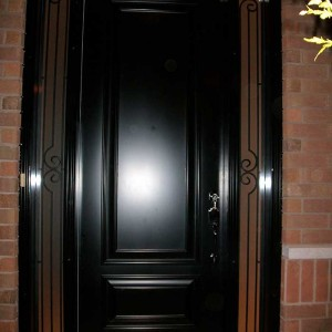 Executive Doors, 8-Foot-Single-Solid-ront-Door-with-2-Slim-Iron-Art-Side-Lites-Installed-in-Oakville by Windows and Doors Toronto