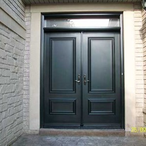 Executive Doors, Smooth Exterior Solid Fiberglass Double Doors with Transom installed in Thornhill by Windows and Doors Toronto
