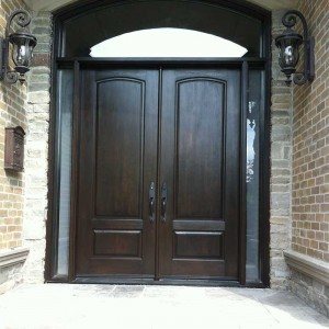 Executive Doors,Woodgrain Fibergllass Solid Double Front Door with 2 Side lights and Matching Arch Ransom Installed in Richmondhill by Windows and Doors Toronto