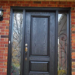 Exterior Door-Single Solid Fiberglass Woodgrain Front Door with 2 Iron art Side Lites Installed by Windows and Doors Toronto in Brampton Ontario
