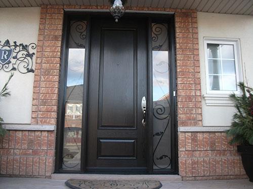 Exterior Double Doors, Wood Grain Doors - After Installation outside view, Fiberglass Smooth Single Door with 2 Iron Art Side Lites Installed by Windows and Doors Toronto