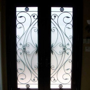 Exterior Fiberglass Doors-woodgrain fiberglass doors 8 foot with 22 by 80 Custom Glass installed by Windows and Doors Toronto in Thornhill - Inside View