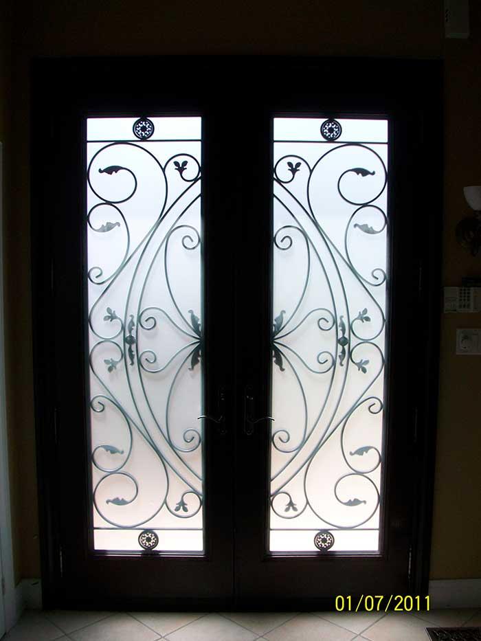Exterior Fiberglass Doors-woodgrain fiberglass doors 8 foot with 22 by 80 Custom Glass installed by Windows and Doors Toronto in Thornhill - Inside View