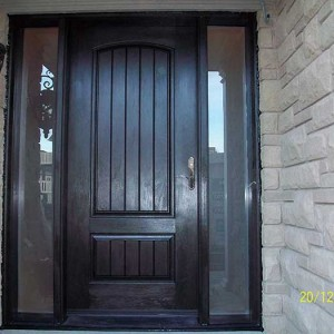 Fiberglass Rustic Solid Door, Woodgrain with 2 Frosted Side Lights Installed by Windows and Doors Toronto in Thornhill
