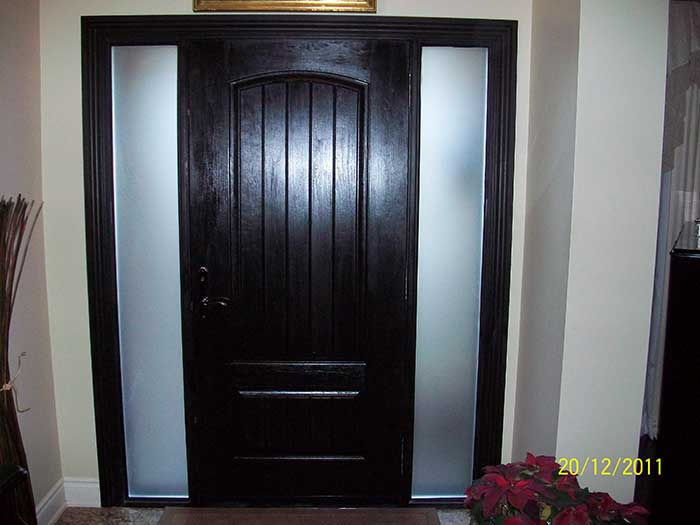 Wood Grain Door, Rustic Solid Door, with 2 Frosted Side Lites Installed by Windows and Doors Toronto in Thornhill