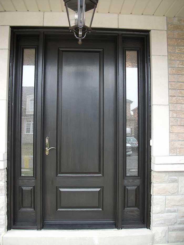 Wood Grain Door, Solid Door with 2 Side Lites Installed by Windows and Doors Toronto in Newmarket