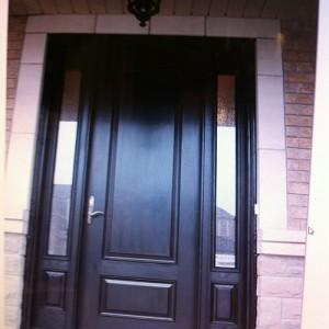 Wood Grain Door with 2 3-4 Side Lites Installed by Windows and Doors Toronto