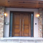 Wood Grain Doors with 2 Frosted Glass Side Lites Installed by Windows and Doors Toronto