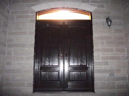 Wood Grain Double Doors with Transom Installed by Windows and Doors Toronto