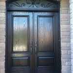 Wood grain 8 Foot Solid Double Doors with Arch Iron Transom Installed by Windows and Doors Toronto