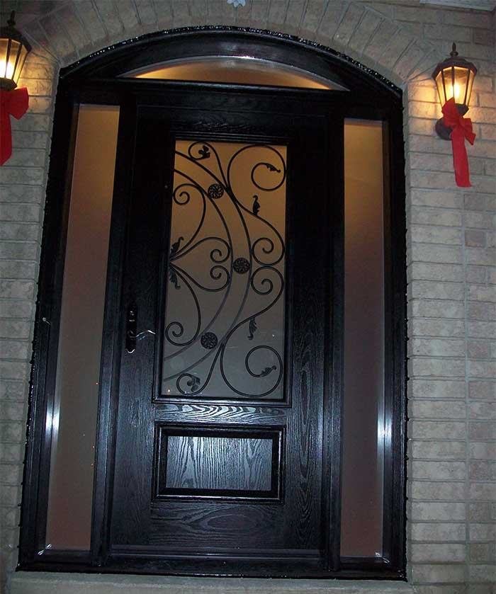 Wood grain Door, Glass design Door with Matching Arch ransom & 2 Frosted Side Lites Installed by Windows and Doors Toronto in Downtown Toronto