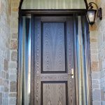 Wood grain Door, Single Solid Front Door with 2 Frosted Side Lites & Matching Arch Transom Installed by Windows and Doors Toronto in Etobicoke Ontario